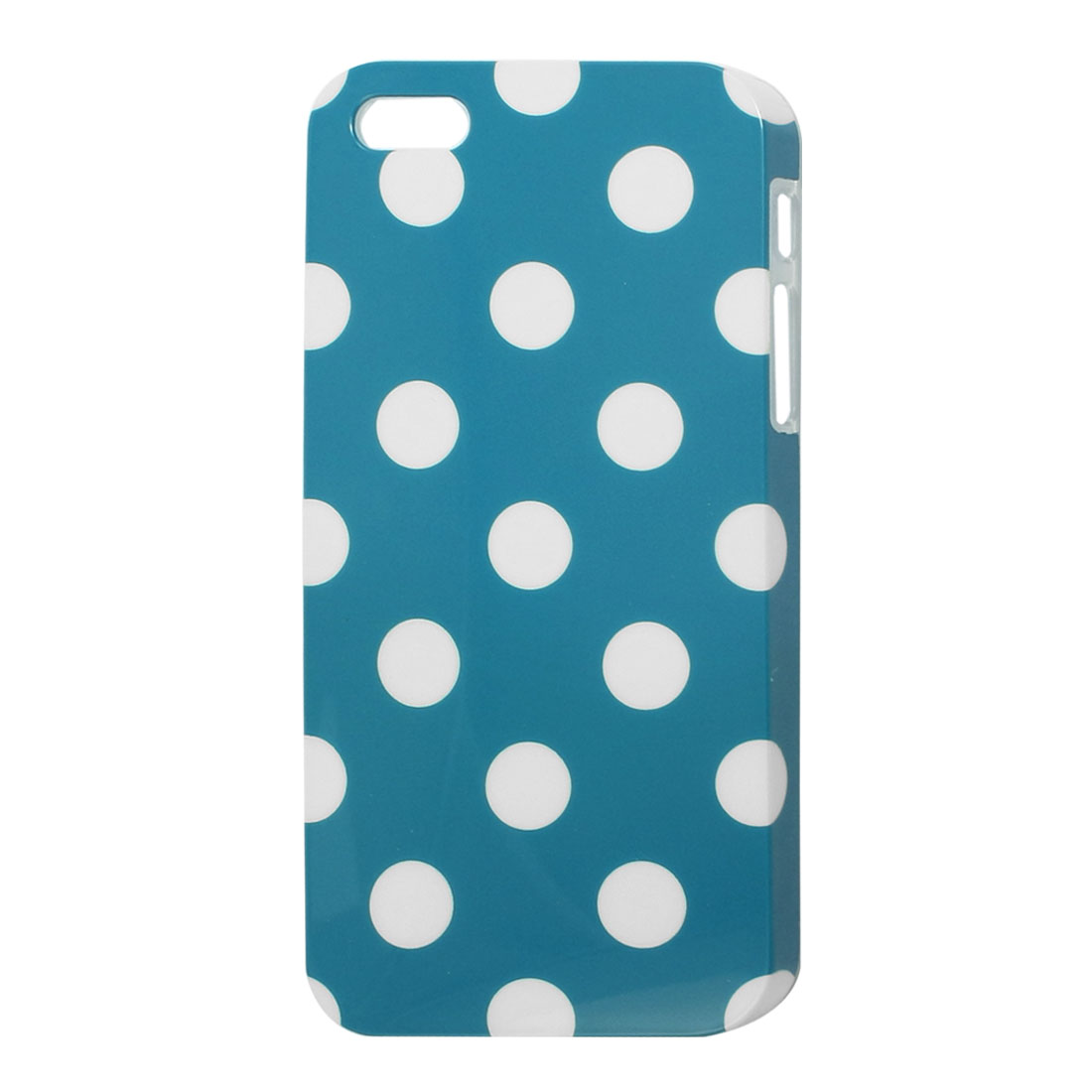 IMD Teal Blue White Dots Print Hard Plastic Back Case Protector for iPhone 5 5G