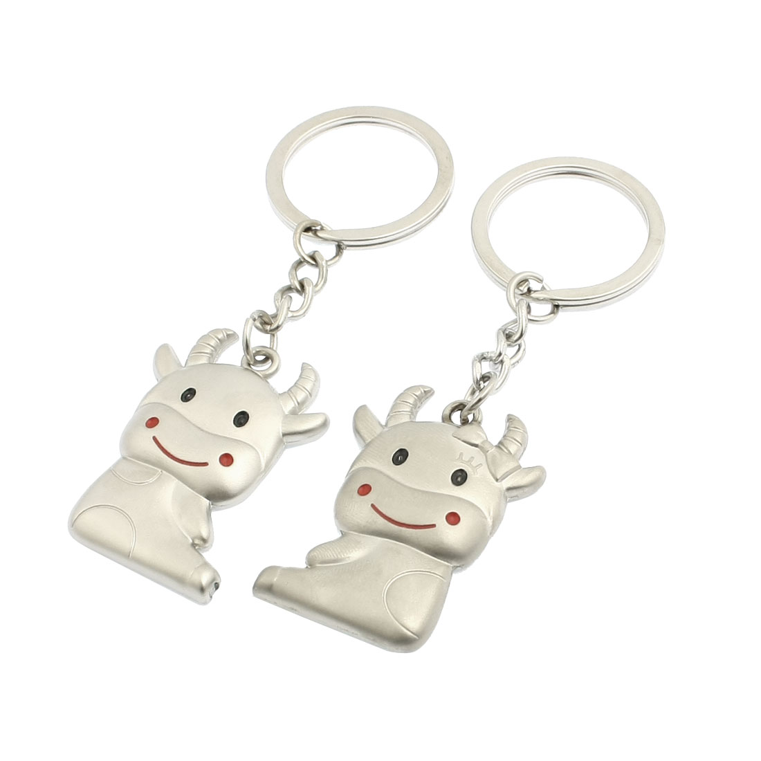 2 Pcs Cow Pendent Design Keyrings Key Holder for Lover