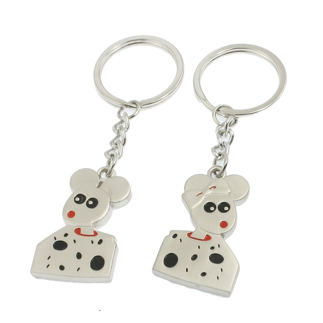 2 Pcs Mouse Pendent Design Keyrings Key Holder for Lover