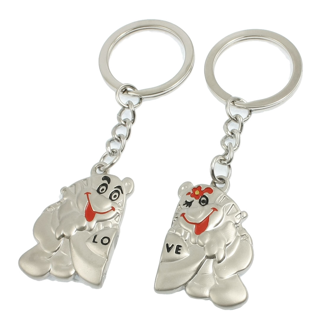 Pair Metal Frog Shaped Pendent Keyrings Key Holder for Lover
