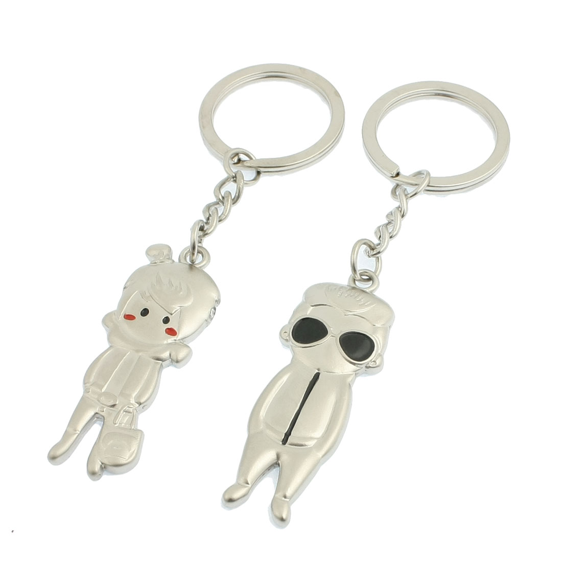 2 Pcs Metal Woman Man Shapes Pendent Keyrings Key Holder for Lover