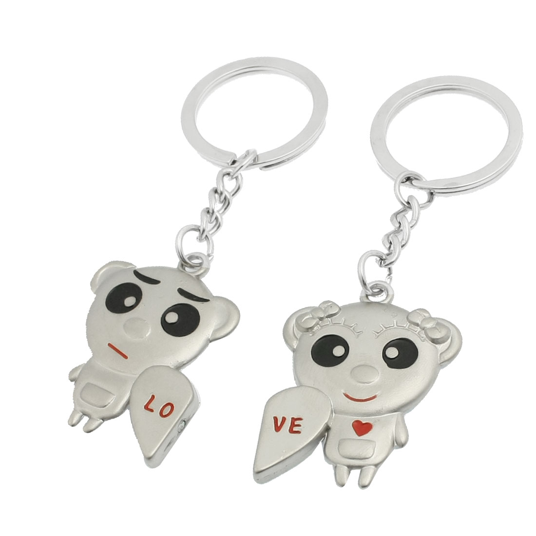 2 Pcs Metal Heart People Accent Pendent Keyrings Key Holder for Lover
