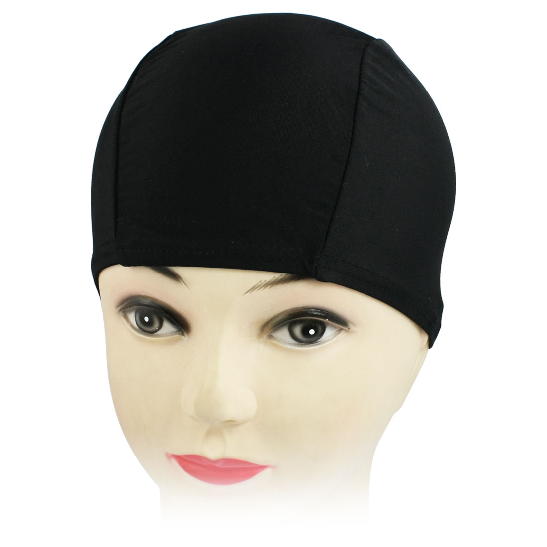 Fiber Elastic Swim Waterproof Hair Cap Swimming Hat Ear Wrap Black for Women Men