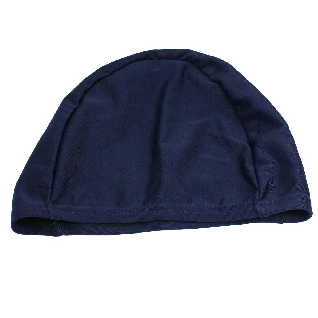 Child Dark Blue Pure Color Fiber Elastic Bathing Swim Cap Hat