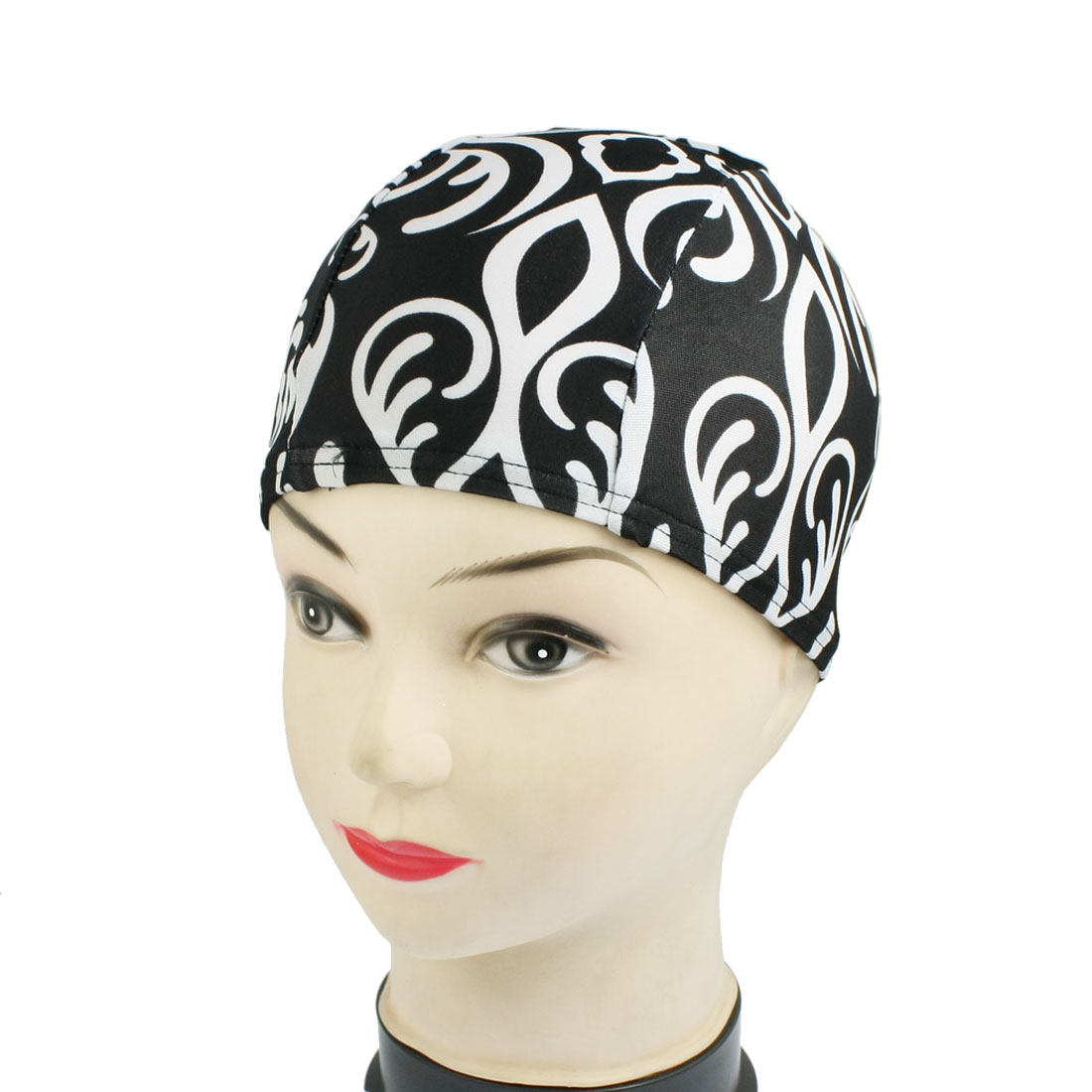 Children Black White Rattan Cotton Elastic Swimming Swim Cap Hat