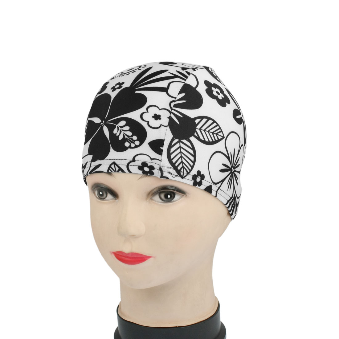 Child White Black Flower Pattern Fiber Elastic Swim Hat 44cm