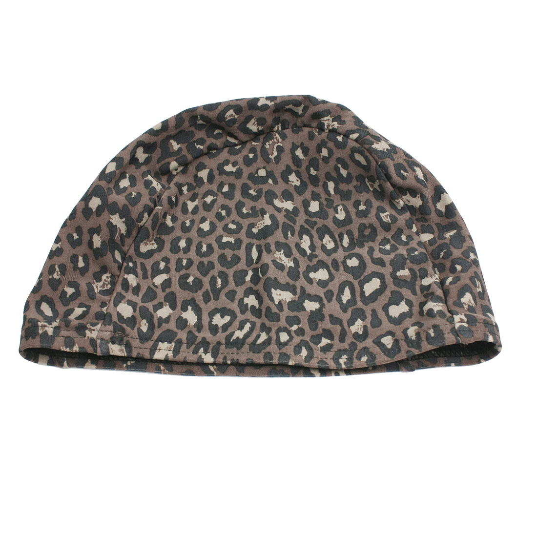 Child Brown Black Leopard Pattern Fiber Elastic Shower Swim Cap Hat