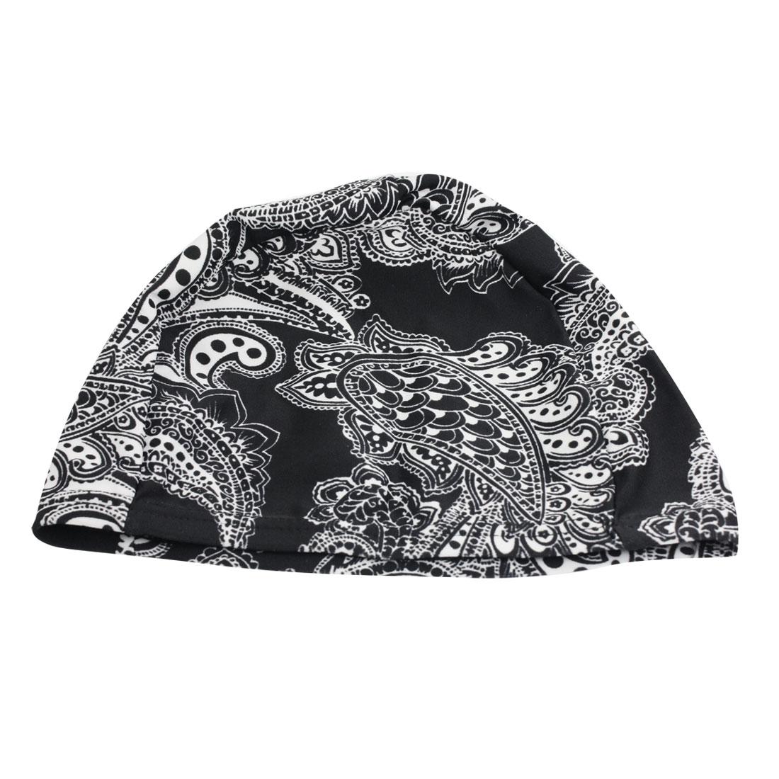 Child Black White Paisley Pattern Fiber Elastic Bathing Swim Cap Hat