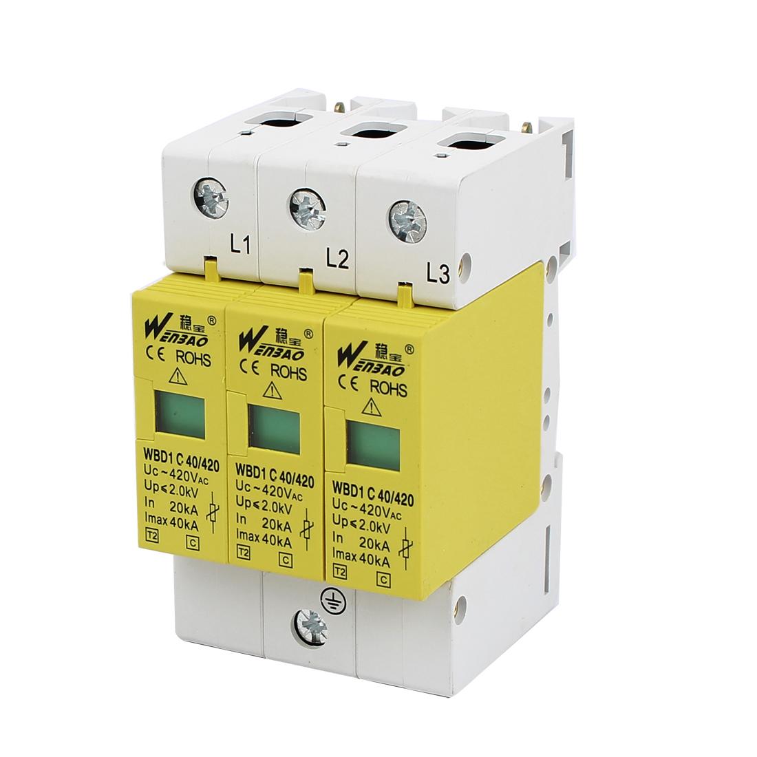 AC 420V 40KA 20KA 3P DIN Rail Mount Surge Protection Device Arrester