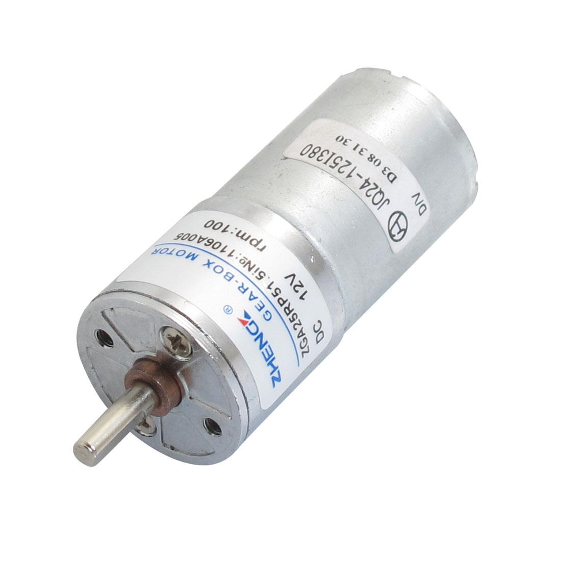 4mm Shaft Diameter Cylinder Shape Electric Gear Motor 2P 12VDC 100RPM