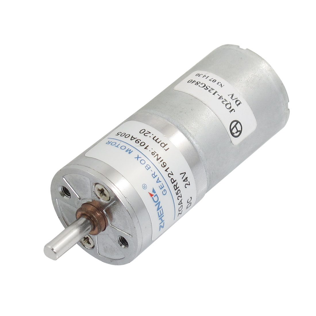 4mm Shaft Diameter Cylinder Shape Electric Gear Motor 2P 24VDC 20RPM