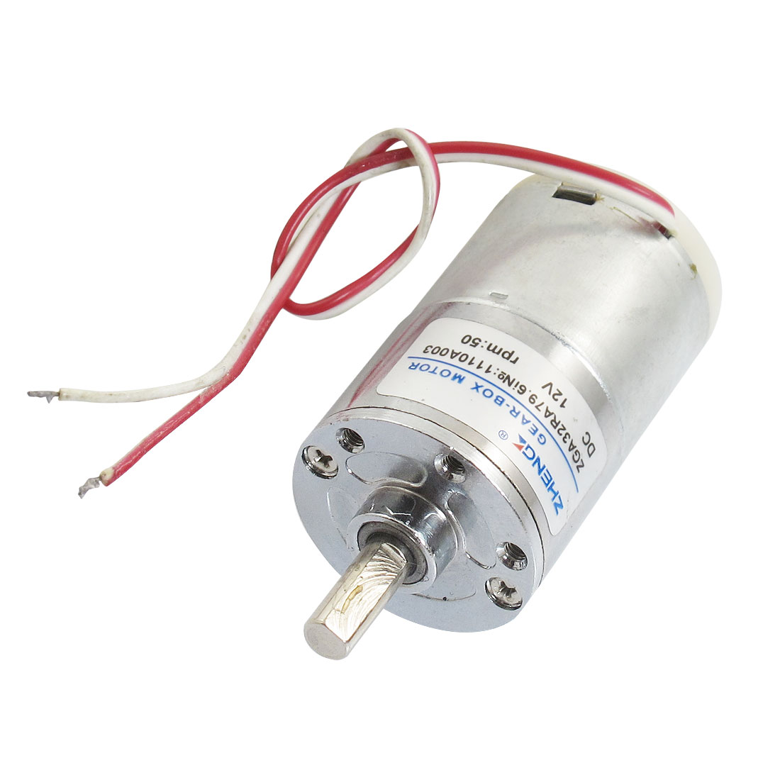 50r/min DC 12V 32mm Boby Dia 2 Wire Speed Reducing Geared Motor