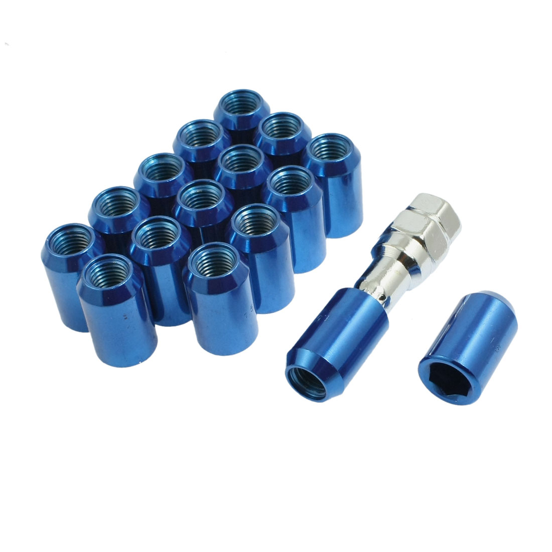 M12x1.5 Blue Metal Hex Locking Lug Nuts 16 Pcs for Wheel