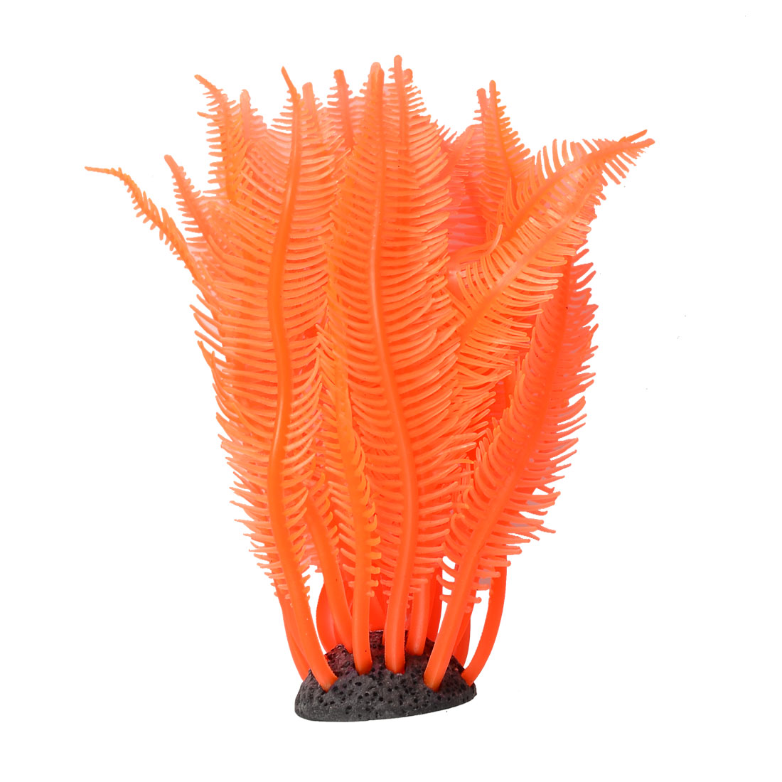 Aquarium Fish Tank Resin Base Orange Silicone Coral Decoration Ornament 4.5""