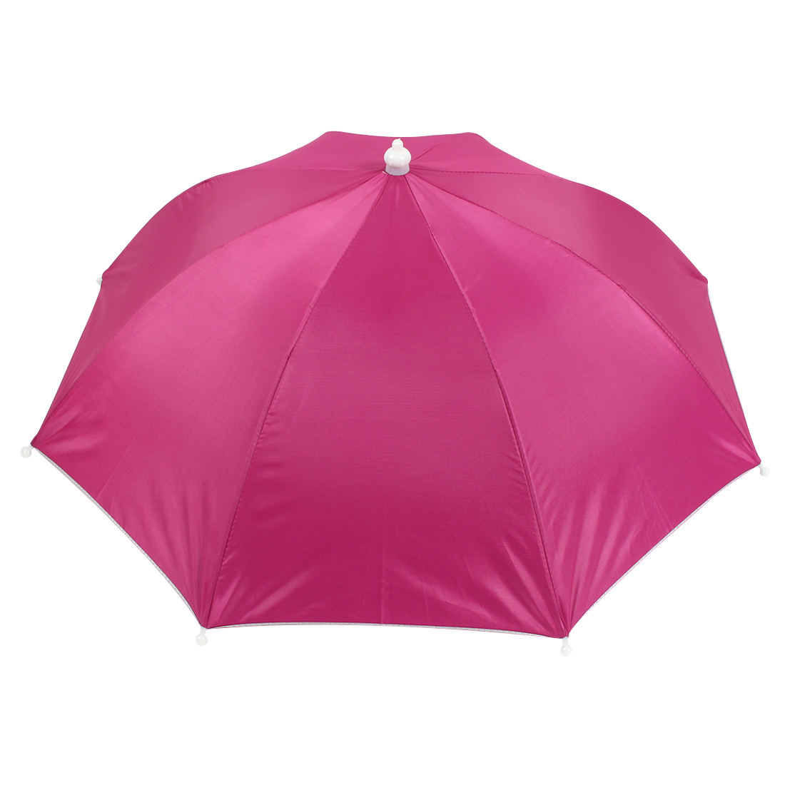 Fuchsia Polyester 8 Ribs Fishing Golfing Sun Rain Umbrella Hat Cap