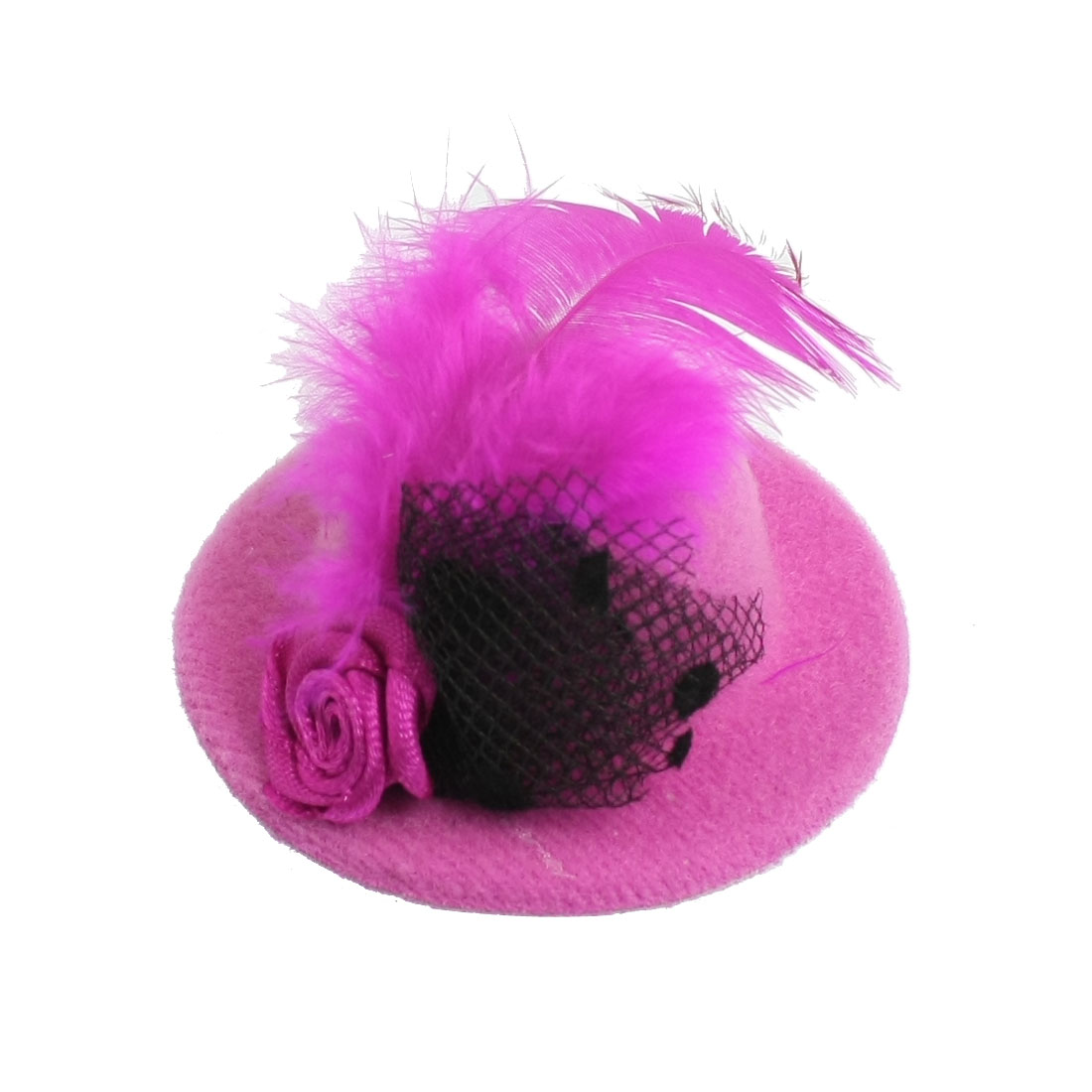 Flower Feather Decor Mini Top Hat Magenta w Alligator Hair Clip