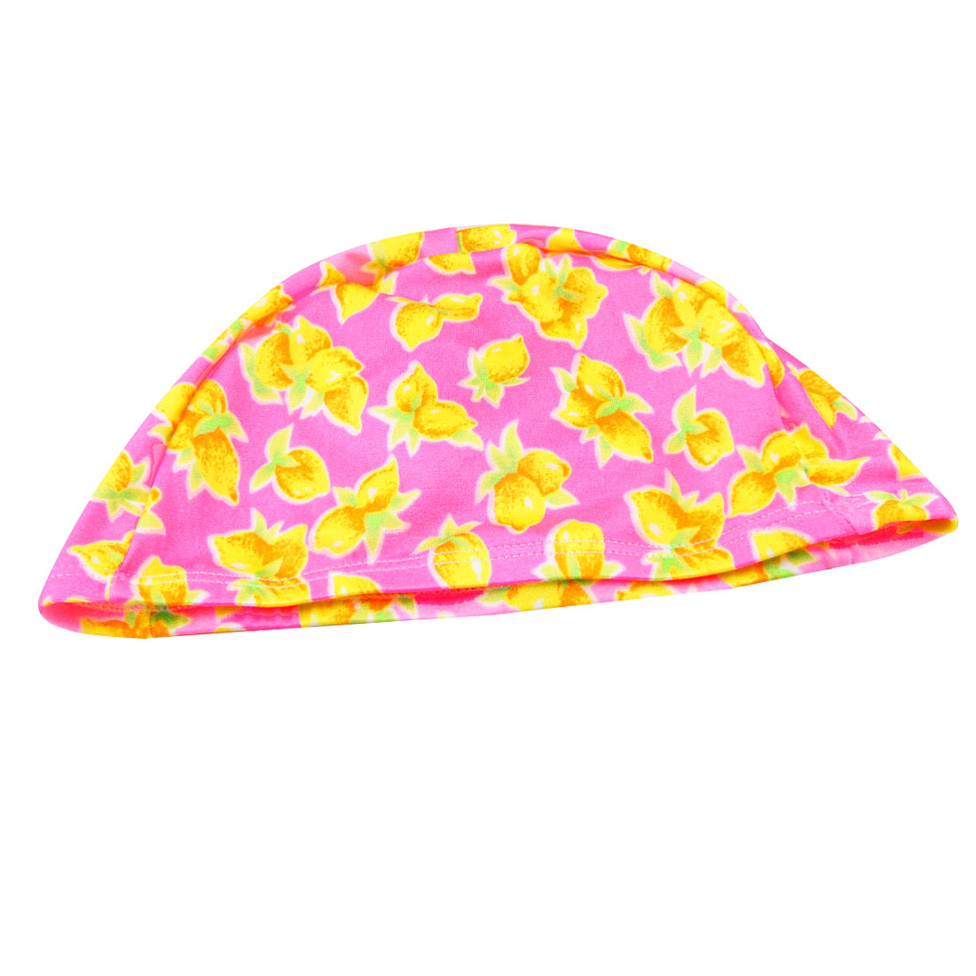 Men Women Elastic Head Band Yellow Lemon Pattern Polyester Swimming Cap Pink