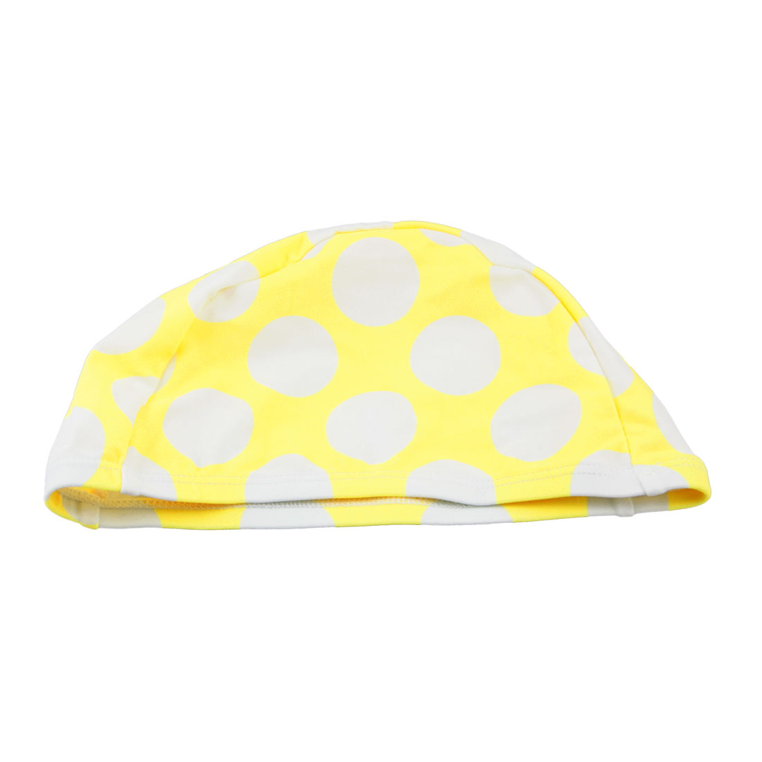 Men Women Stretchy Head Band White Dots Print Yellow Elastic Swimming Cap Hat