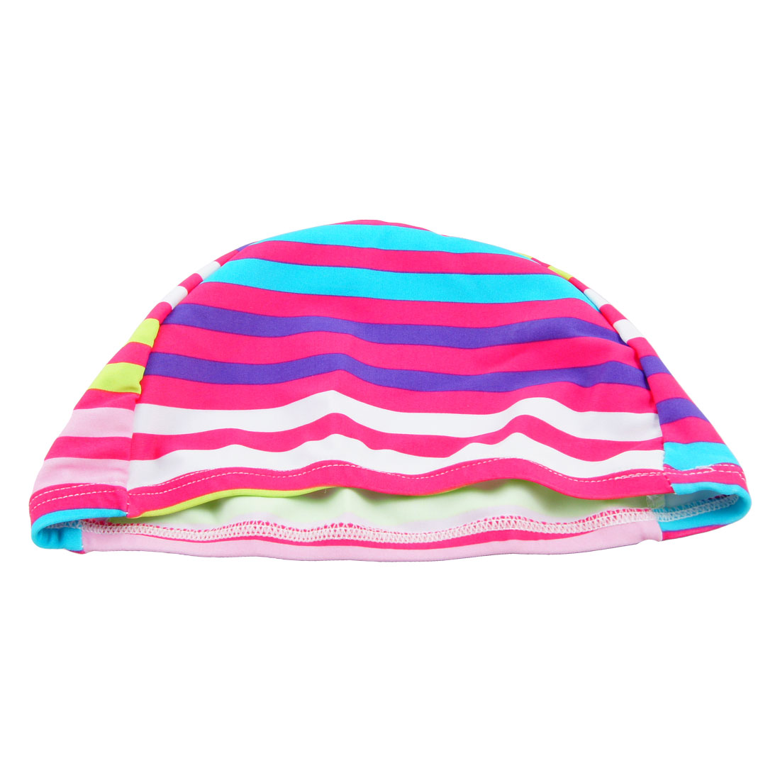 Dome Shaped Assorted Color Stripes Pattern Polyester Stretchy Swimming Cap