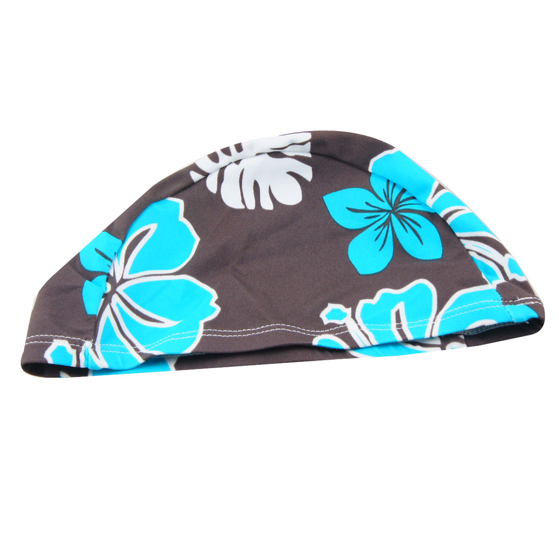 Colorful Elastic Head Band Flower Pattern Polyester Swimming Cap for Adults