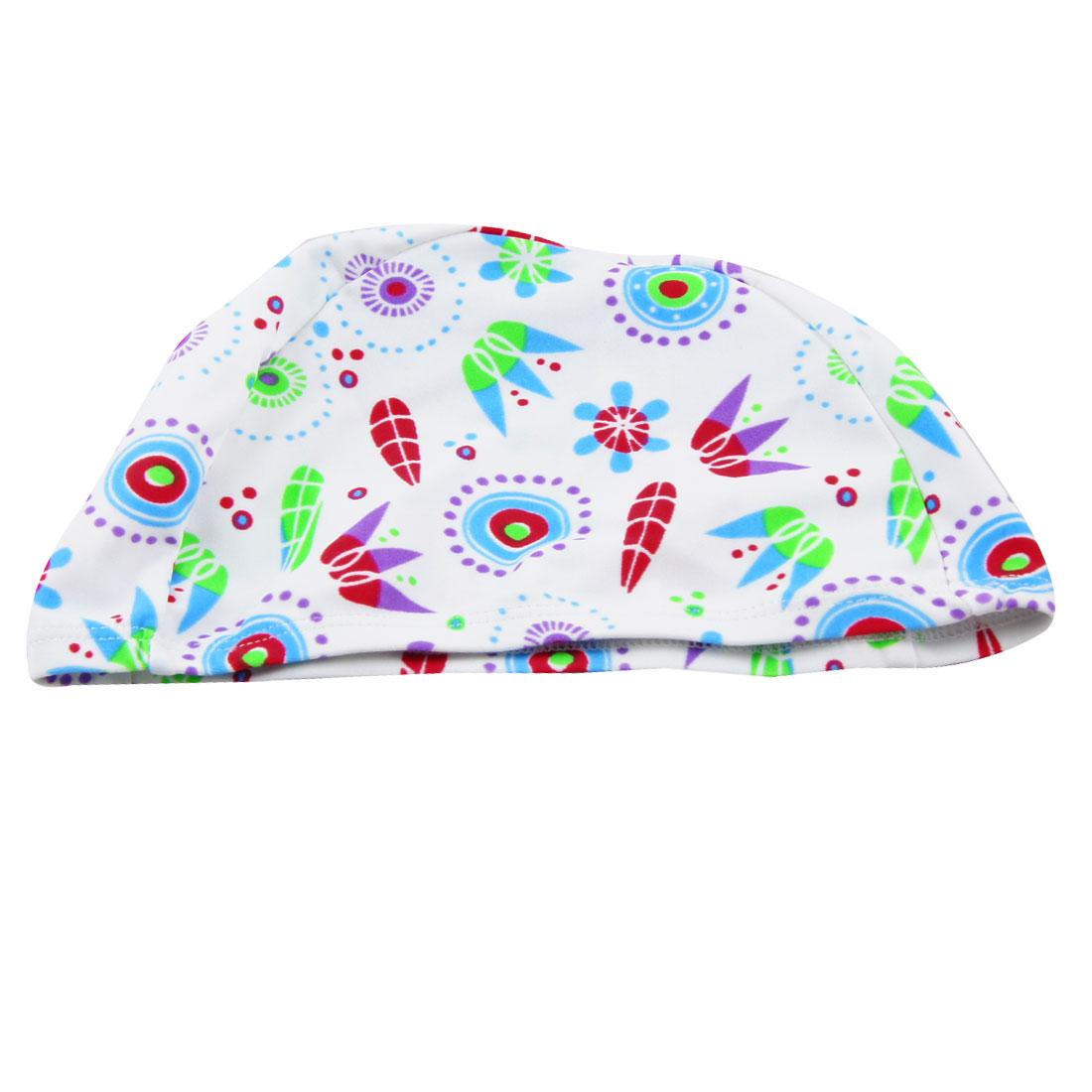 Men Women Elastic Head Band Multicolored Flower Pattern Swimming Cap
