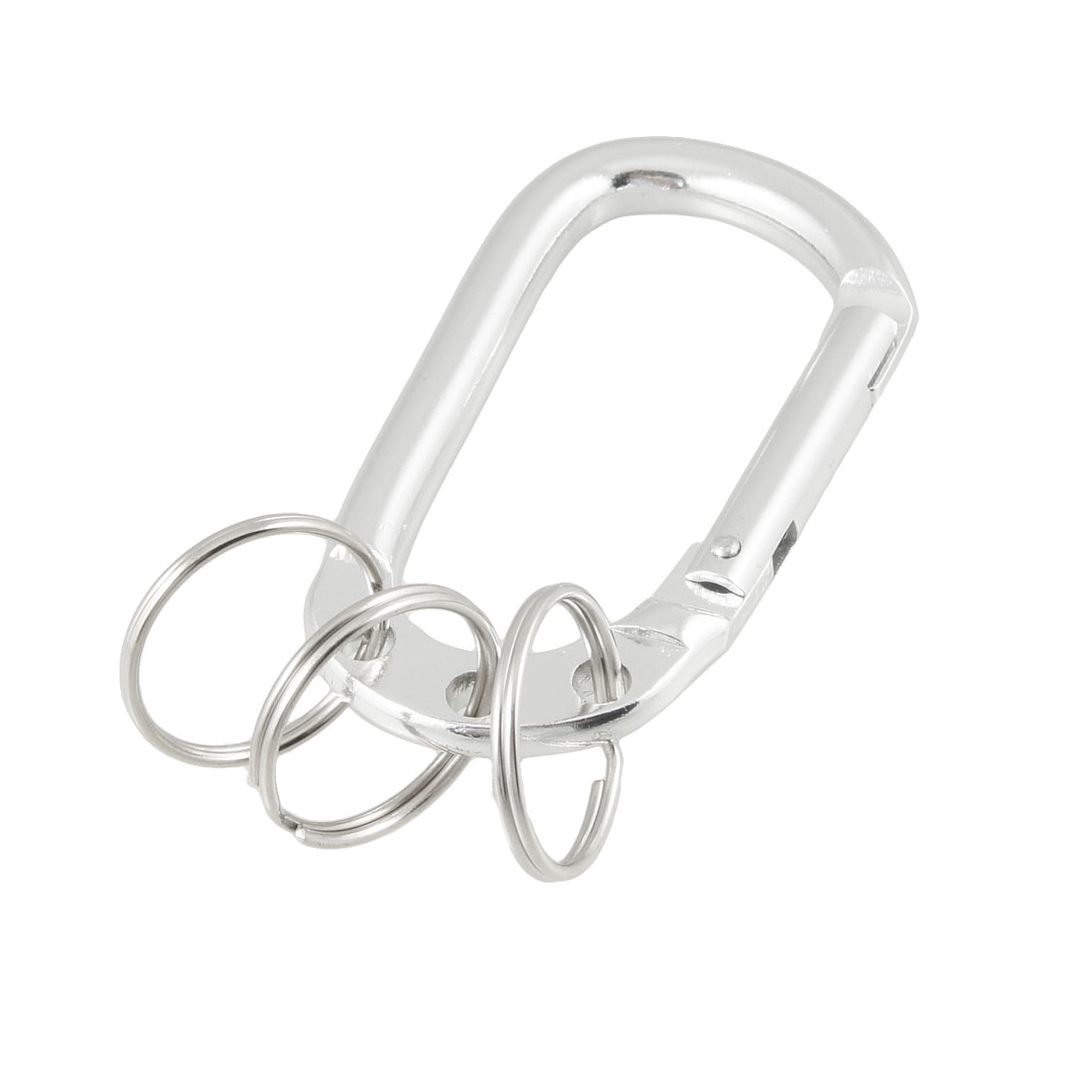 Silver Tone Metal D Shape Screw Lock Carabiner Key Ring Connected 3 Keyrings