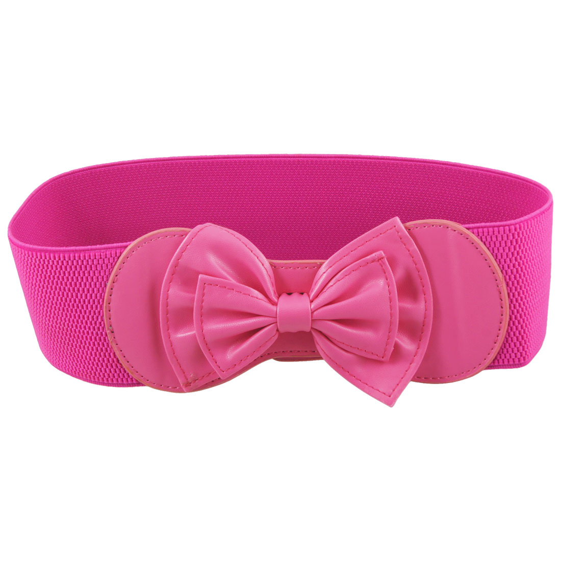 Lady Bowknot Shaped Faux Leather Hook Buckle Elastic Waistband Belt Fuchsia