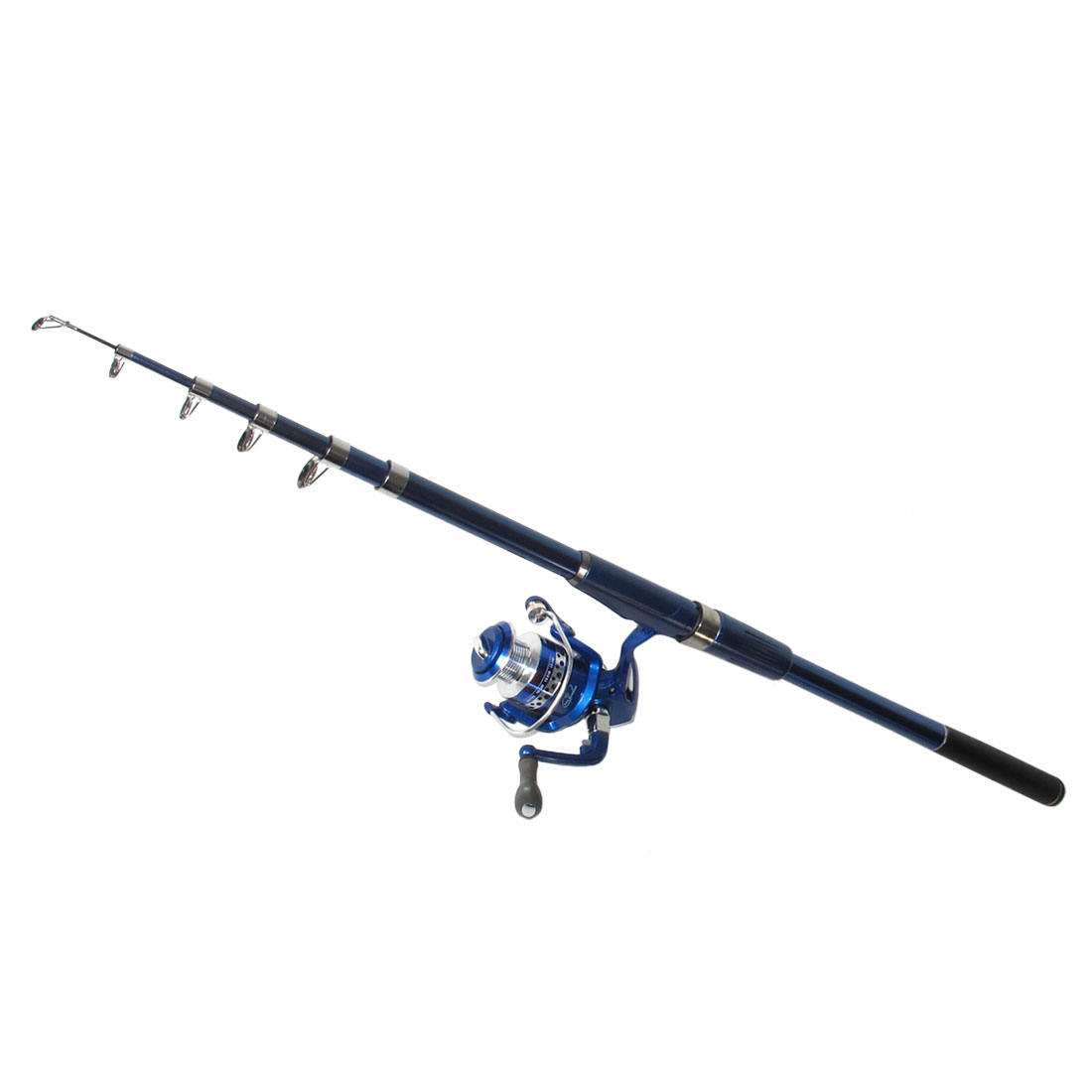 Navy Blue Plastic Handle 6 Sections Telescopic Fishing Rod 2.4M w Spinning Reel
