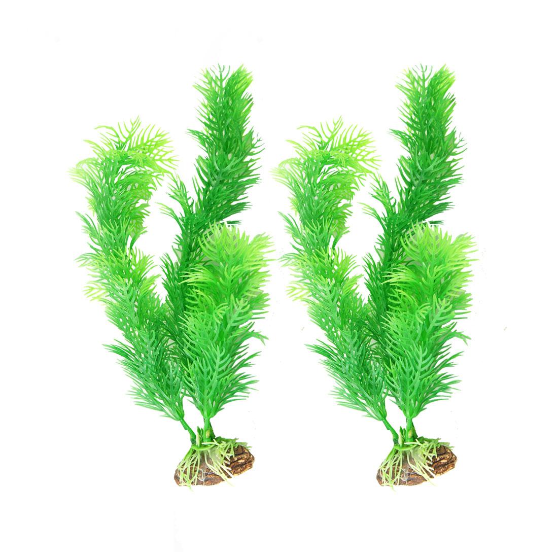"""2 Pcs Aquarium Green Plastic Artificial Grass Plant Decor 7.9"""" Height"""