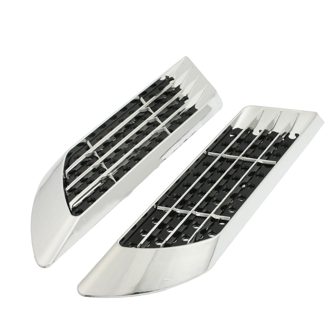 Perforated Car Side Vent Air Flow Fender Sticker Decor Silver Tone 2 Pcs