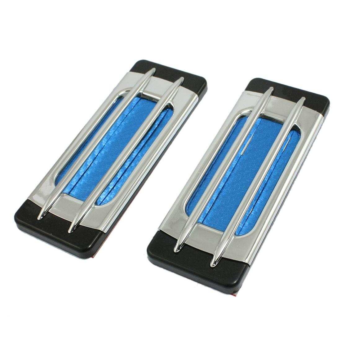2 Pcs Universal Fit Stick-on Silver Tone Blue Plastic Car Air Flow Vent Fender
