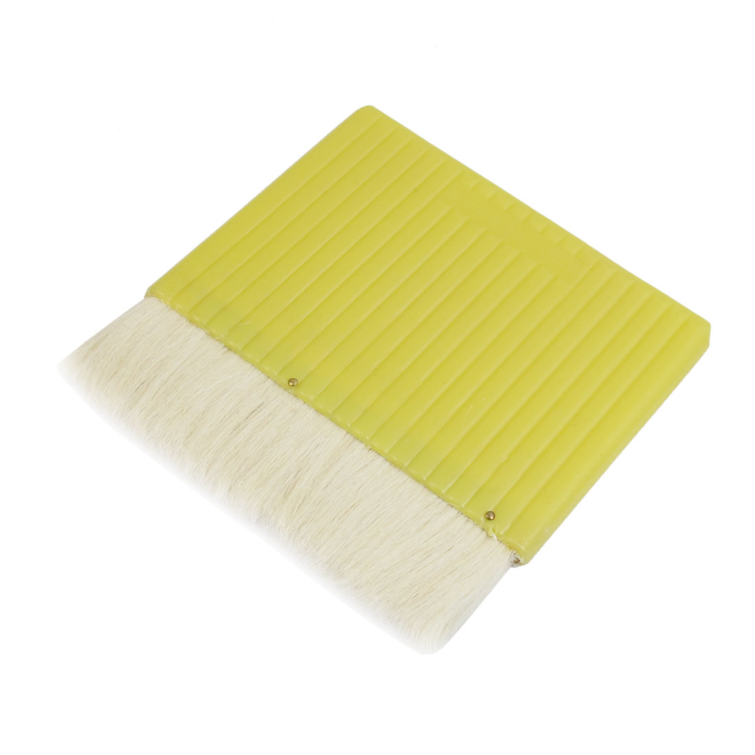 "5.5"" Wide Light Yellow Plastic Handle White Faux Wool Painter Paint Flat Brush"