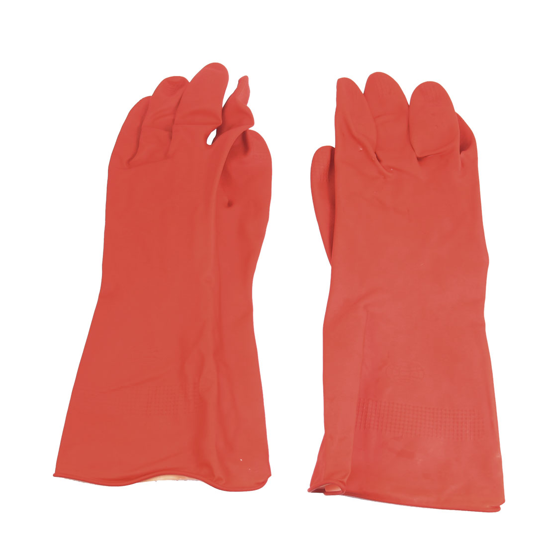 "Pair 11.8"" Length Household Washing Cleaning Protective Latex Gloves Red"