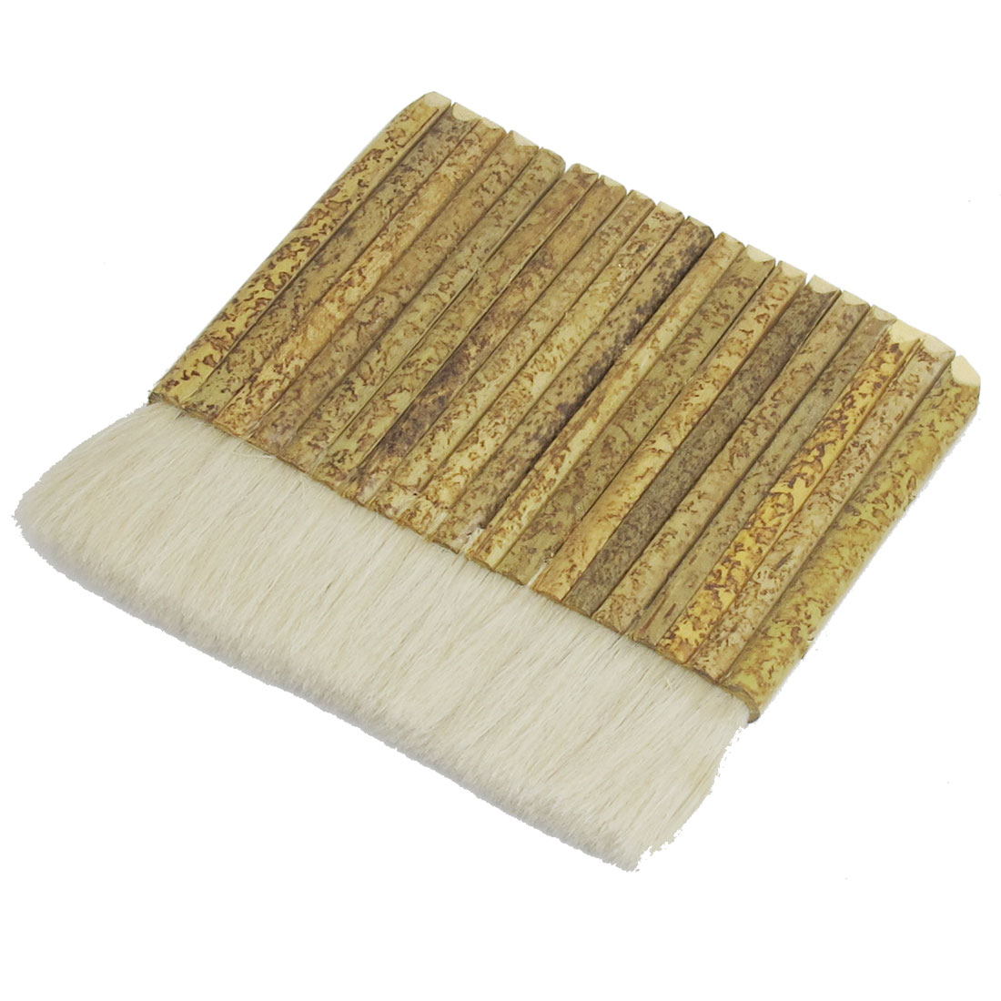 "5"" Width Flat Khaki Bamboo Handle White Faux Wool Filament Painter Paint Brush"