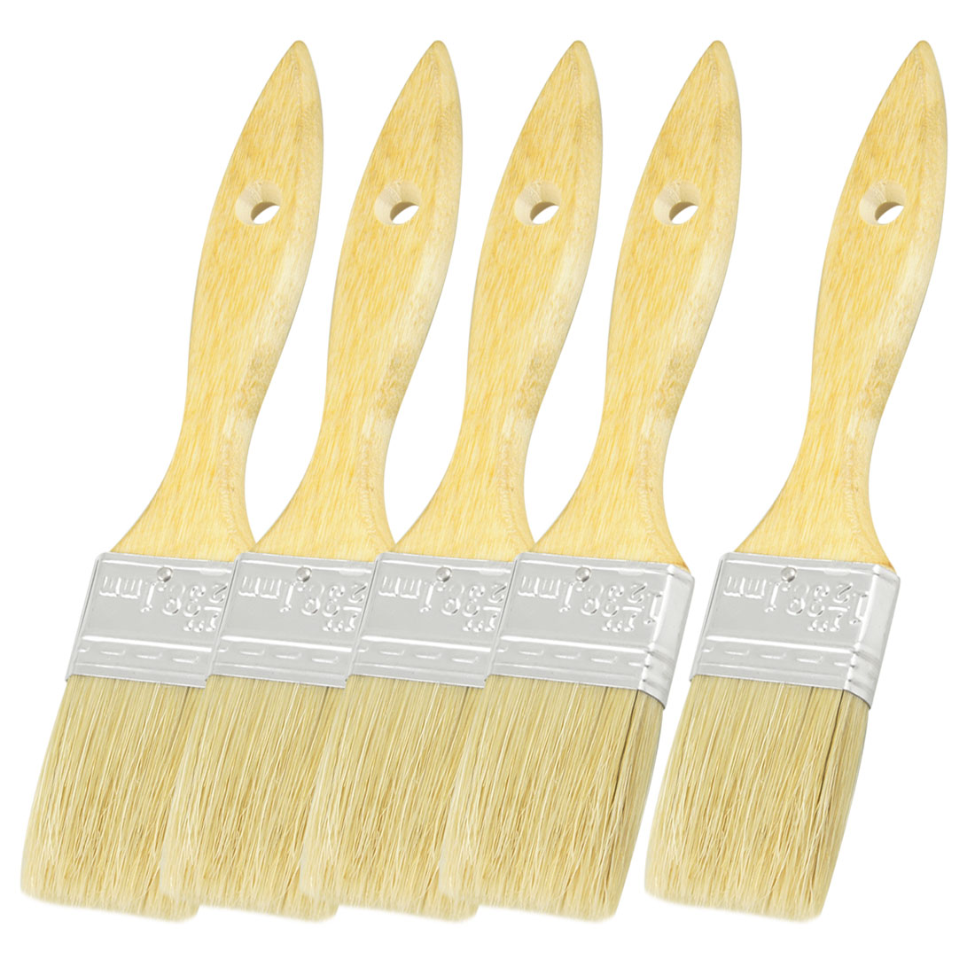 Furniture Painting Bristle Hair Wooden Handle Paint Brush 1.5 Inch Wide 5pcs