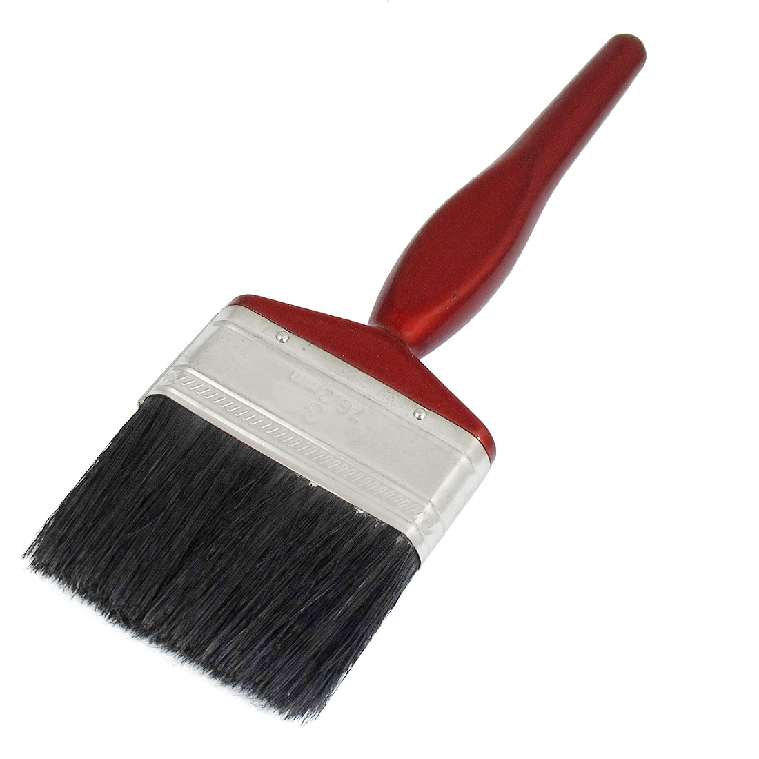 "3"" Width Burgundy Wooden Handle Black Faux Bristle Filament Paint Brush"