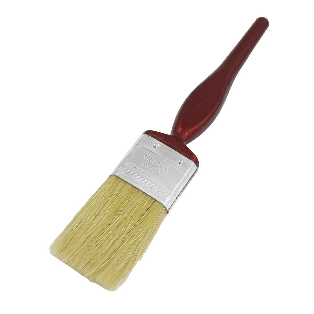 """1.5"""" Width Burgundy Wood Handle Beige Flat Faux Bristle Decoration Paint Brush"""