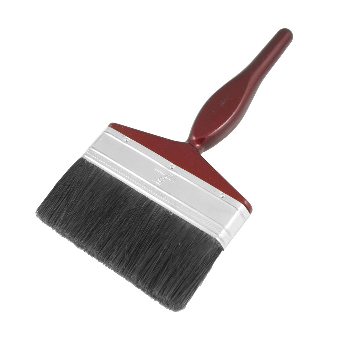 "5"" Wide Black Nylon Bristle Dark Red Handle Paint Brush Painting Tool"