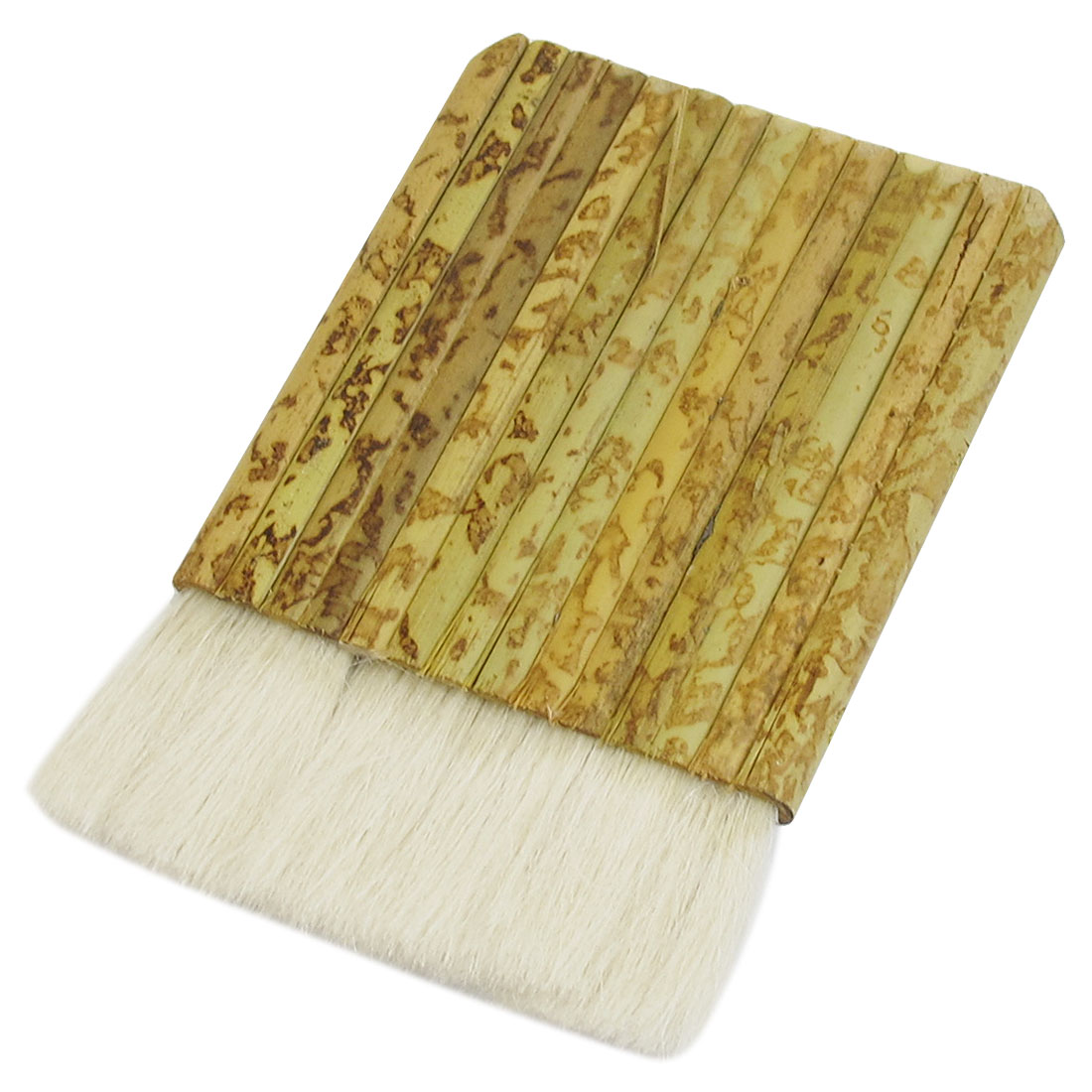 "3.5"" Wide Rectangle Shaped Bamboo Handle White Faux Wool Paint Varnish Brush"