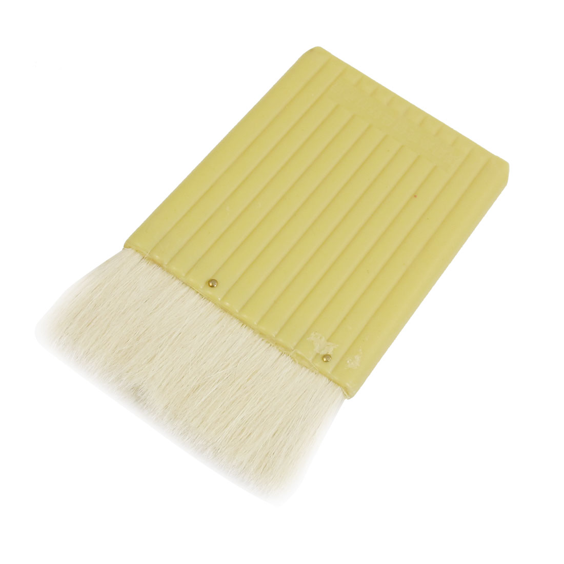 "3.5"" Wide Light Yellow Plastic Handle Wall Decoration Faux Wool Oil Brush White"