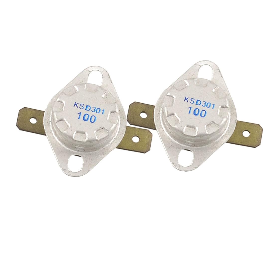 2 Pcs 100C Normal Closed Temperature Controlled Ceramic Thermostat KSD301