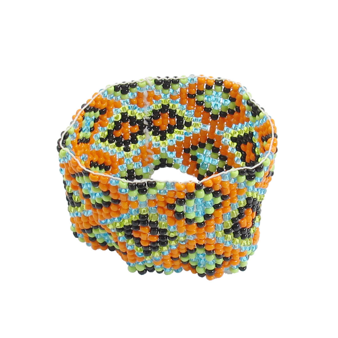 Ladies Colored Beads Link Rhombus Pattern Stretch Bracelet Bangle