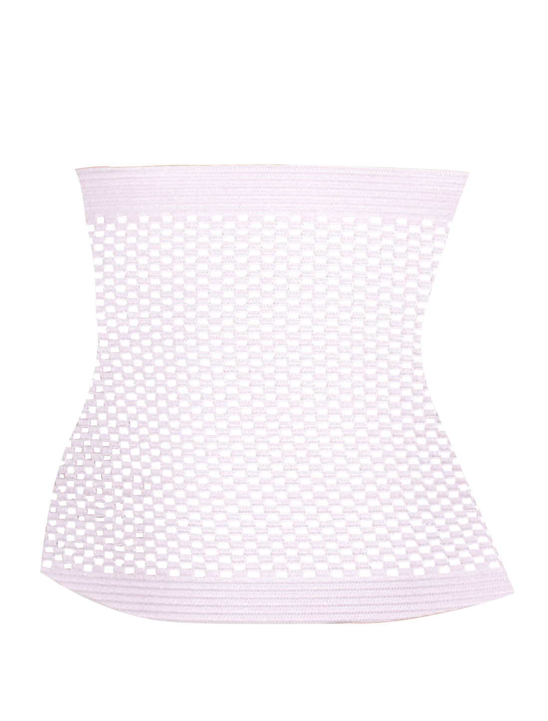Women Grid Perforated Elastic Shapewear Tummy Slimmer Waist Cincher Pink L