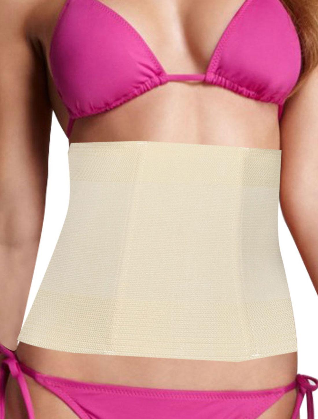 Women Stretch Adjustable Tummy Shaper Slimming Belt Waist Cincher Beige L