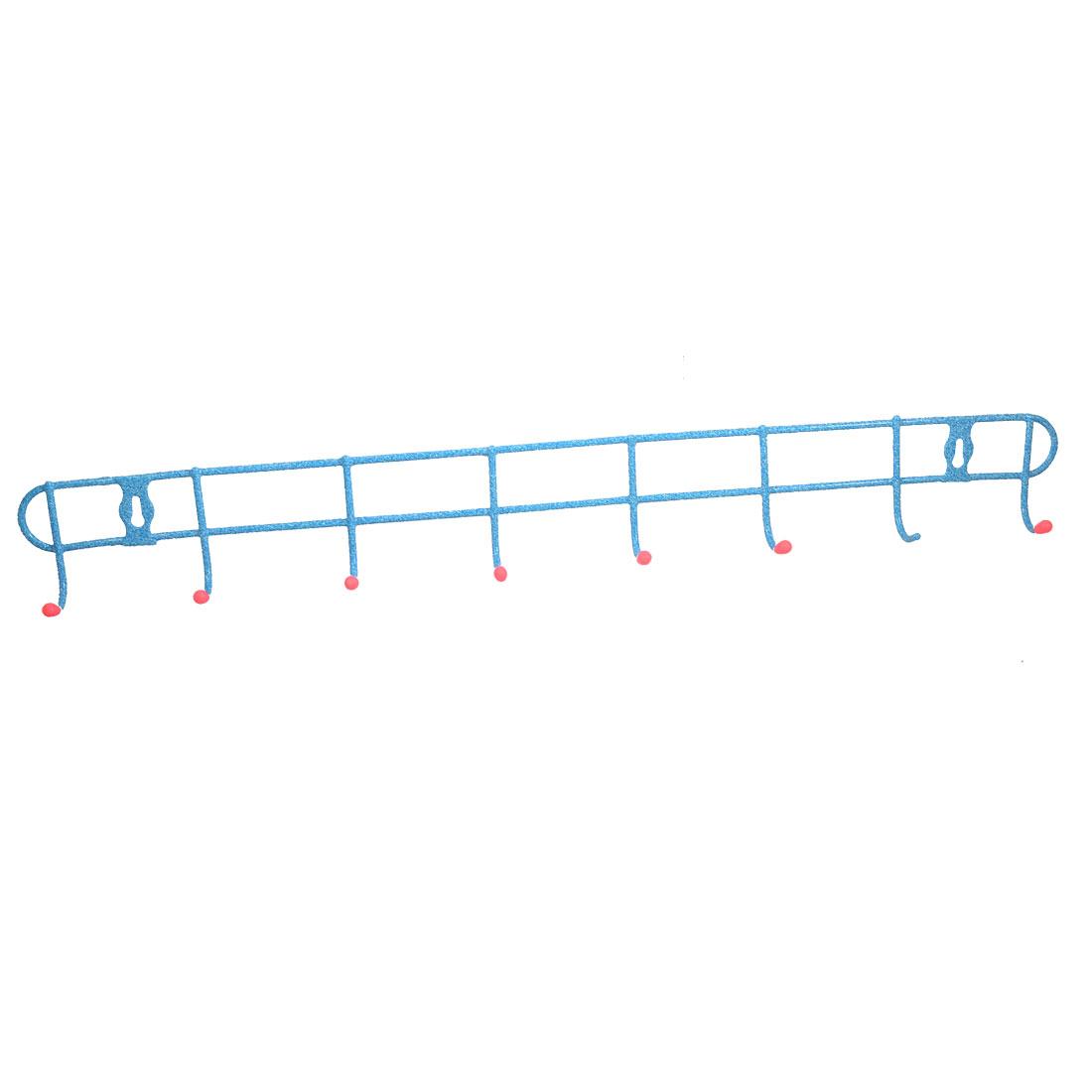Home Blue Pink Metal 8 Hook Clothes Towel Robe Hanging Storage Rack Hanger
