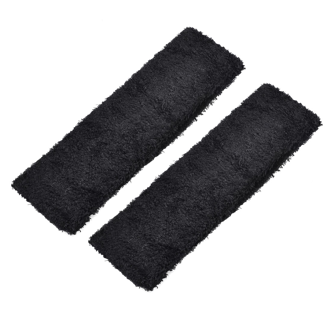 Running Yoga Exercise Workout Elastic Terry Cloth Headband Sweatband Black 2 PCS