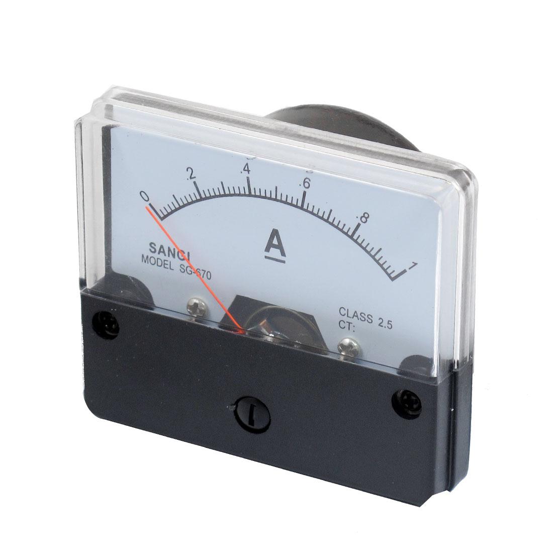 DC 0-1A Rectangle Analog Panel Thread Mount Ammeter Gauge
