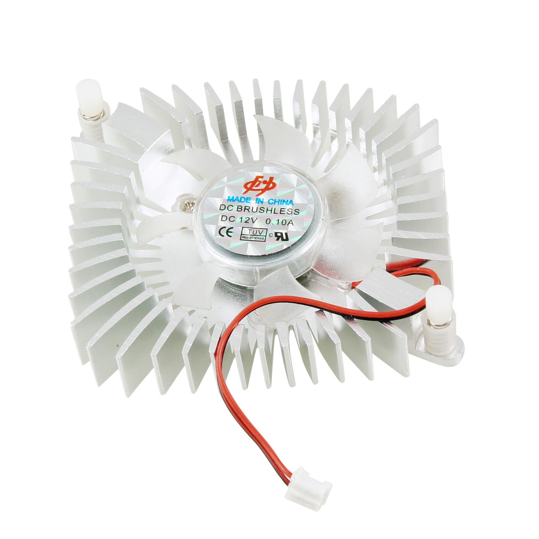 Silver Tone Clear 2-wire CPU Cooler Cooling Fan for Computer
