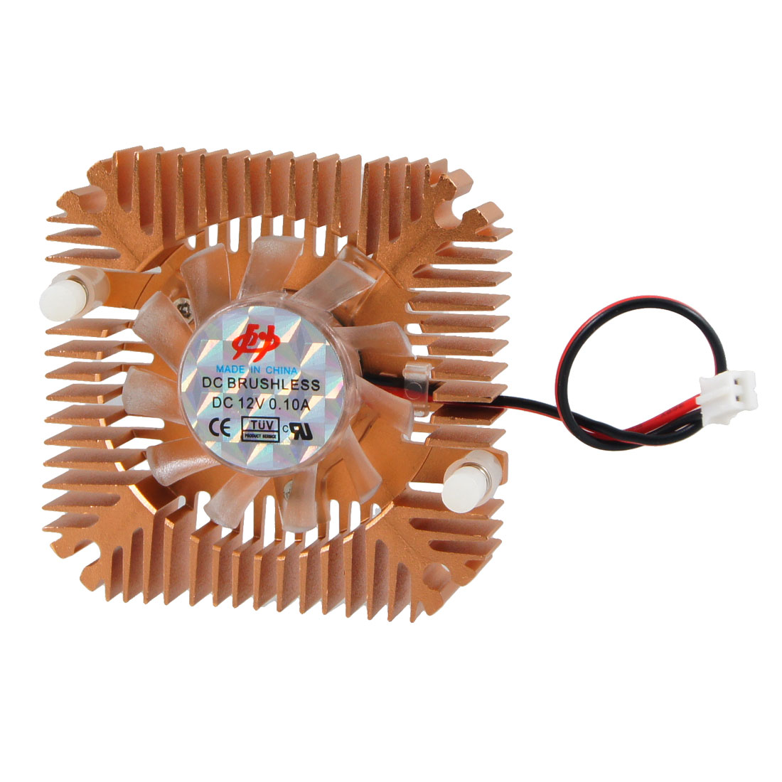 Copper Tone 2 Terminals Connector Square Shaped Cooling Fan for PC Laptop CPU