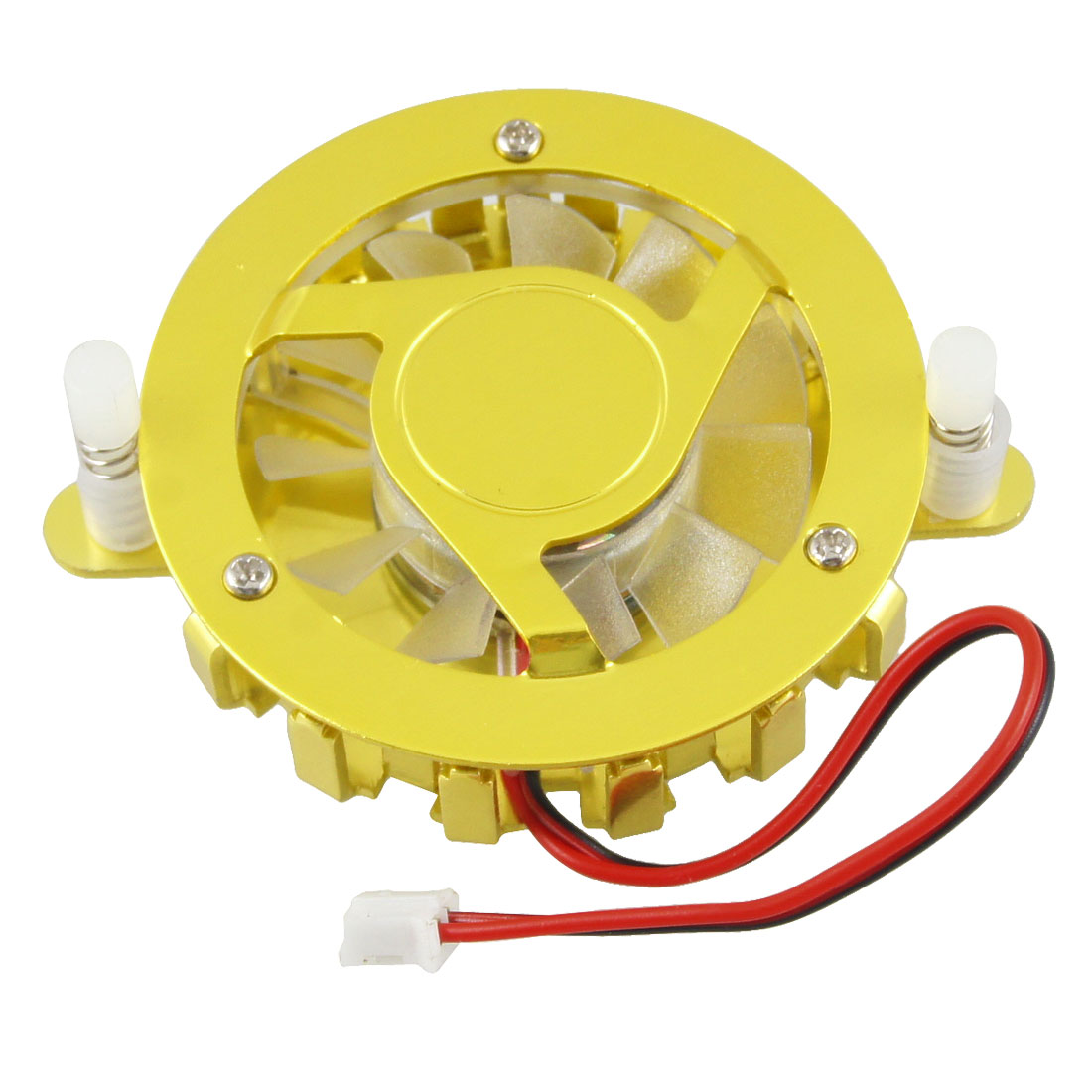 Gold Tone Clear Round Computer CPU Cooler Cooling Fan